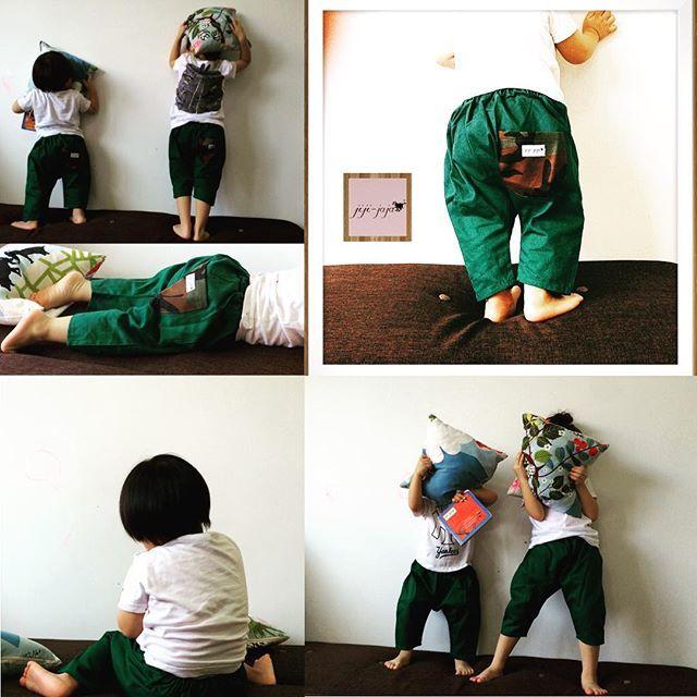 【送料無料】3年履ける★greenのひかえめミリタリポケット サルエルパンツ70~95