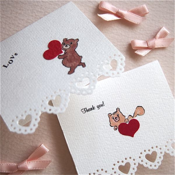 MINI CARD -HEART PUNCHING  BEAR & SQUIRREL 2PC SET-