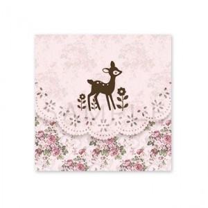 (四角SH57)〈ショップシール四角〉☆バンビシルエット 花柄レース《ピンク04》