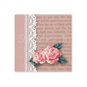 (四角SH58)〈ショップシール四角〉☆薔薇とレース《英字・ピンク01》