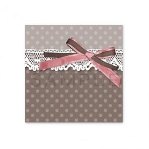 (四角SH61)〈ショップシール四角〉☆リボン&水玉 ロマンティック《ピンク&グレイ05》