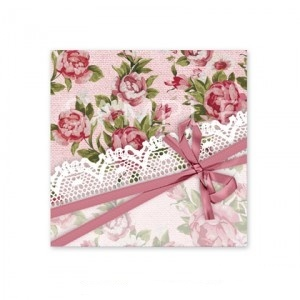 (四角SH62)〈ショップシール四角〉☆クロスリボン&花模様《ピンク系04》