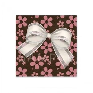 (四角SH64)〈ショップシール四角〉☆白いリボンとお花柄《ピンク系01》