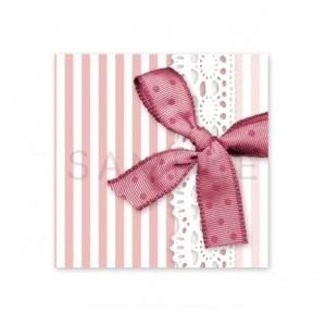 (四角SH69)〈ショップシール四角〉☆リボン&ストライプ《ピンク05》