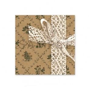 (四角SH75)〈ショップシール四角〉☆お花のパターンとコットンレース《クラフト紙風》