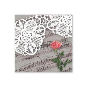 (SH81四角)〈ショップシール四角〉☆一輪の薔薇と楽譜&レース《グレイ》