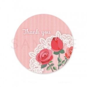 (丸型SH1)〈Thank youシール丸型〉☆フラットなバラとレース《ピンク系01・Thank you》☆48枚1セットです。☆キレイモードで印刷しています(^^♪
