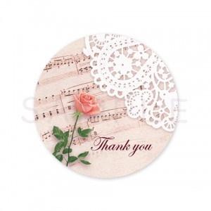 (丸型SH2)〈Thank youシール丸型〉☆一輪の薔薇と楽譜&レース《ピンク系・Thank you》☆48枚1セットです。キレイモードで印刷しています(^^♪