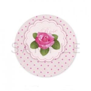 (丸型SH8)〈Thank youシール丸型〉☆薔薇のサークルタグと水玉《ピンク02》 48枚1セット☆キレイモードで印刷しています(^^♪