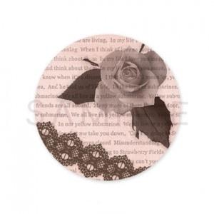 (丸型SH7)〈ショップシール丸型〉☆薔薇 モノトーン英字《ピンク系01》☆48枚1セット☆キレイモードで印刷しています(^^♪