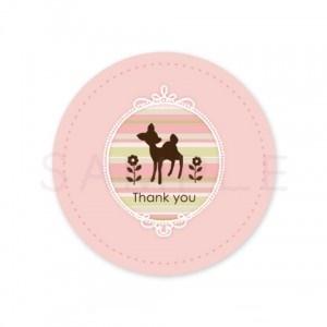 (丸型SH6)〈Thank youシール丸型〉☆ボーダーオーバルフレームのバンビ《ピンク系01》☆48枚1セット☆キレイモードで印刷しています(^^♪
