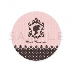 (丸型SH4)〈Thank youシール丸型〉☆シルエット 少女《モノトーン ピンク・Merci Beaucuop》☆48枚1セット☆キレイモードで印刷しています(^^♪