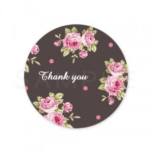 (丸型SH3)〈Thank youシール丸型〉☆花柄ロマンティック&グレース《ダークブラウン・Thank you》☆48枚1セットです。☆キレイモードで印刷しています(^^♪
