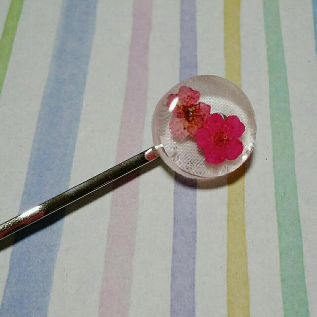 【送料込み】ピンクのお花のヘアピン