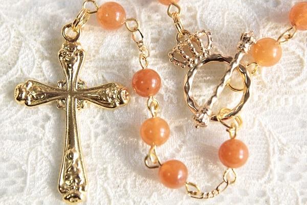 オレンジアベンチュリンのロザリオ風ネックレス