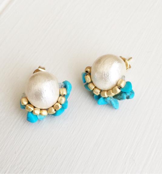 cotton pearl × turquoise bijou pierce