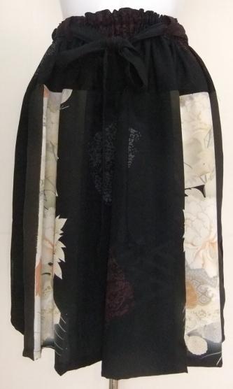着物リメイク 色留袖と柄入りの着物で作った膝丈スカート 1405