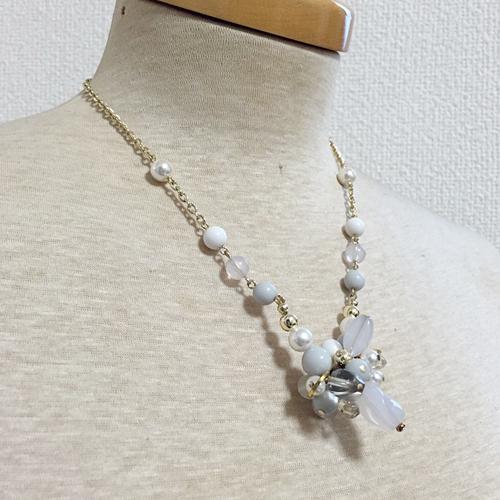 [N09-10-B]パステルカラーのネックレス(ブルー)