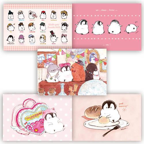 ポストカード5枚セット ピンク(もこぺん)