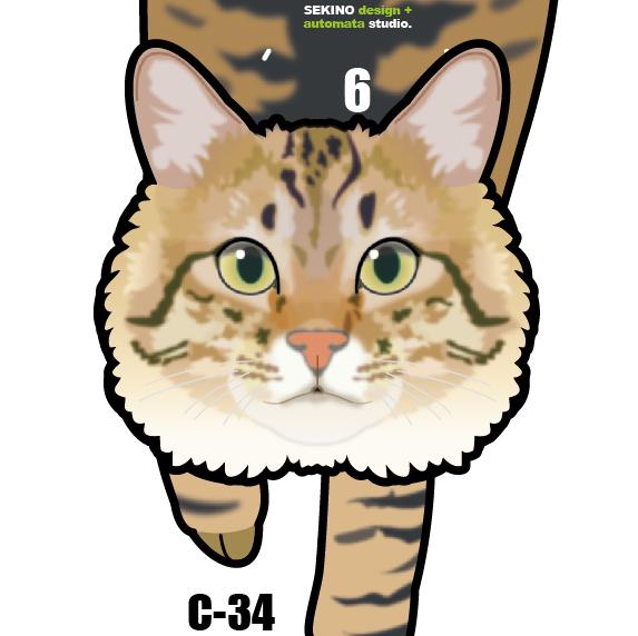 C-34 キジトラ(長毛)-猫の振り子時計