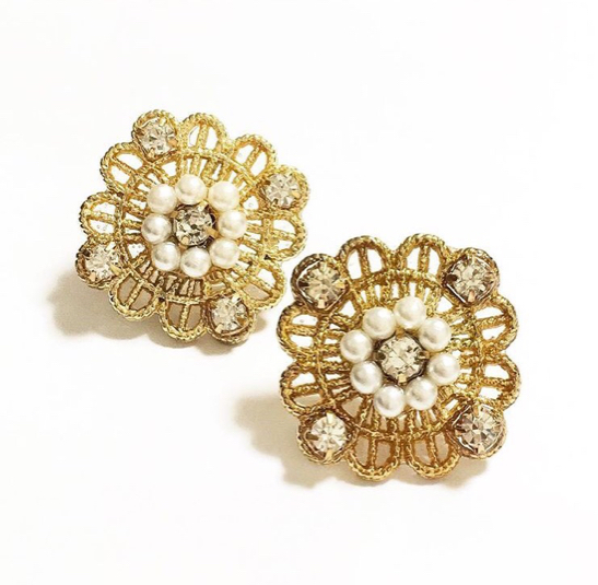 【送料無料】Classical Lace Flower Bijou Pierce