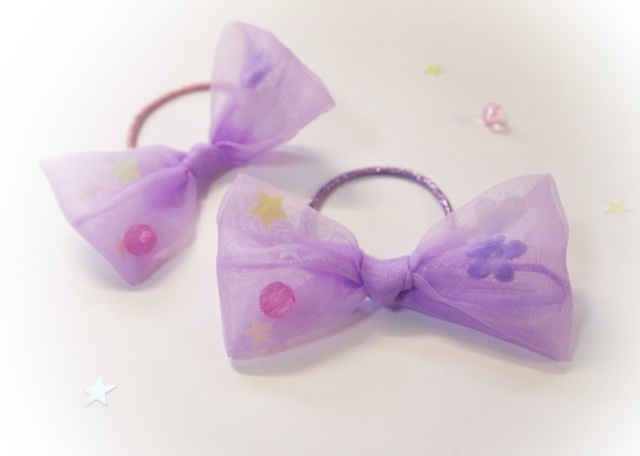 送料0! ヘアゴム* sweet purple ribbon
