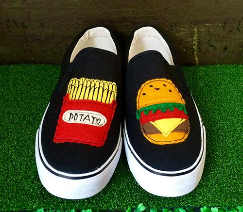 ハンバーガーセットレディーススニーカー(ブラック)