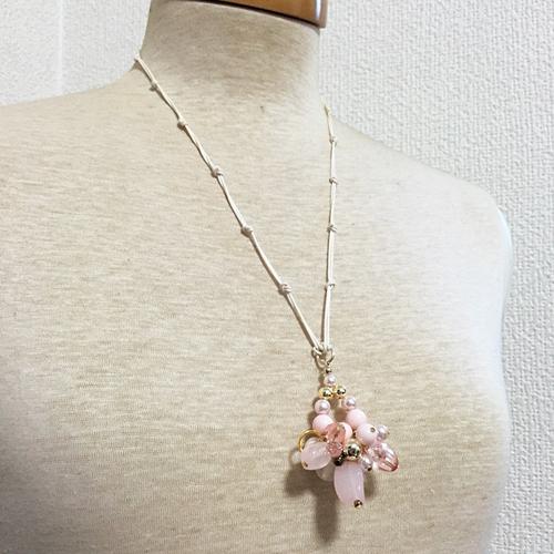 [N09-06-PK]パステルカラーのコットン紐ネックレス(ピンク)