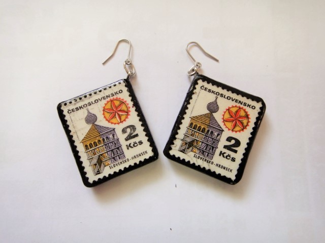 チェコスロバキア  切手ピアス1087