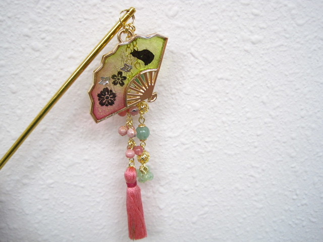 天然石とUVレジンの簪(ねこの庭)