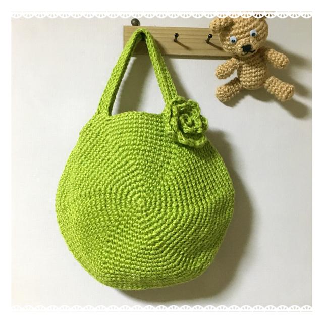 《再販》黄緑色の麻ひもマカロンバッグ