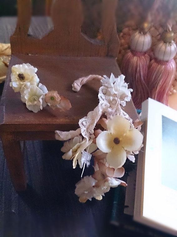 花のイヤーフックと片耳飾り【セット】