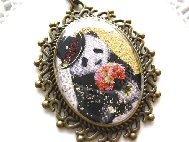 おめかしパンダと花束のロングネックレス_262 s5 18p