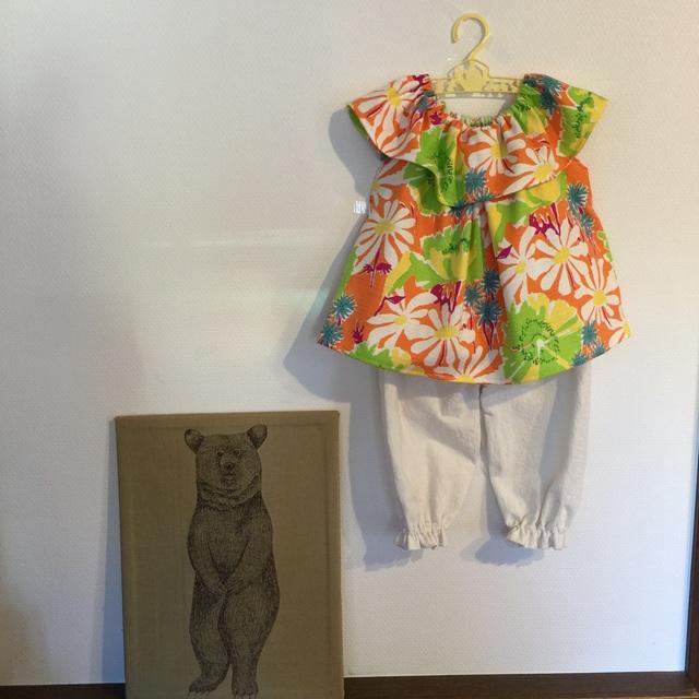*サイズ100-110*summer flower フリルチュニックとドロワーズ風パンツ*orange*
