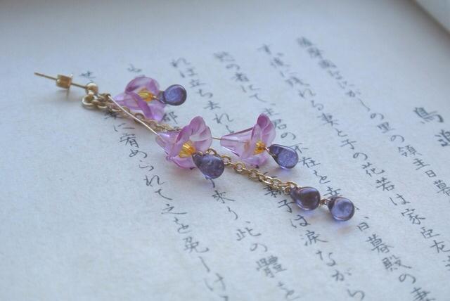 しゃらしゃら 紫 藤 片耳用 ピアス イヤリング