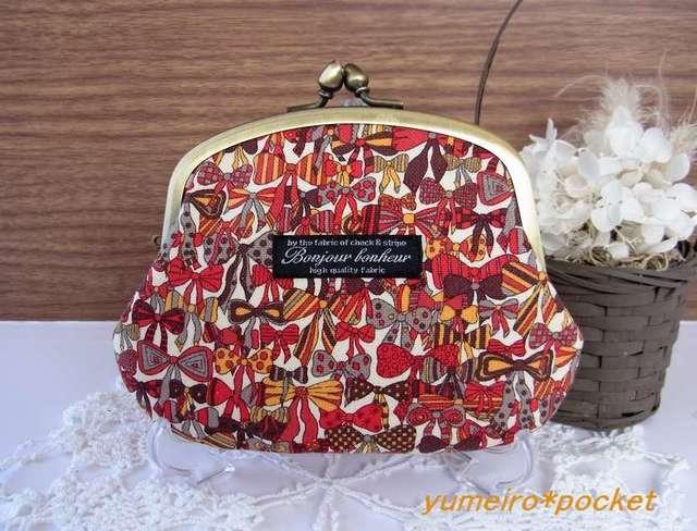 リバティジェニーズリボンズの親子がま口財布(小)*赤×茶