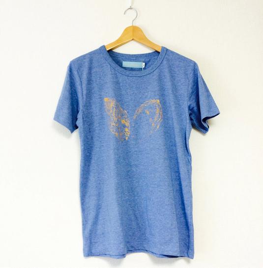 Mサイズ・海のミルクTシャツ(メランジブルー)