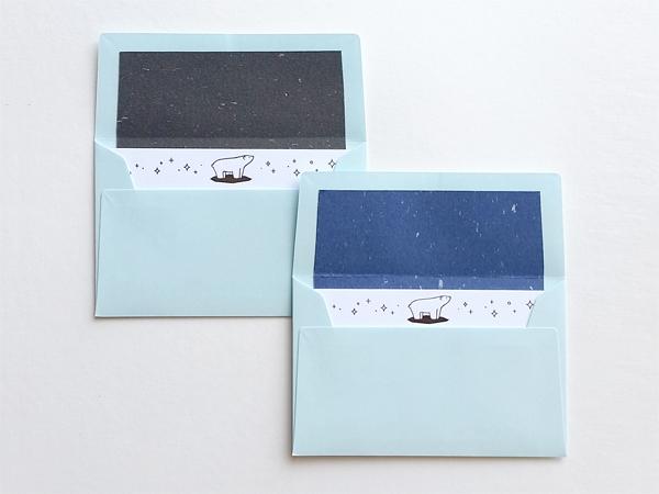 黒銀箔のシロクマメッセージカード