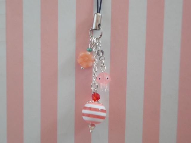 くらげストラップ 花×ピンクマリンストライプ ピンクくらげ