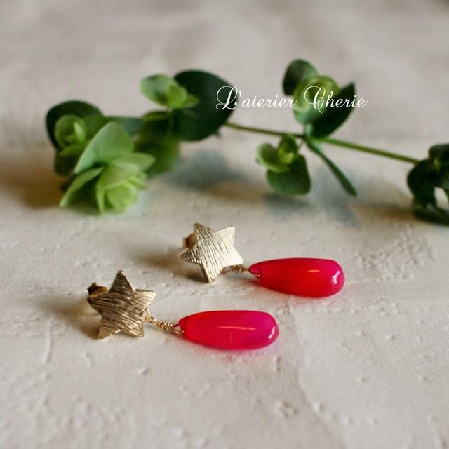 sale!星と赤い天然石のピアス