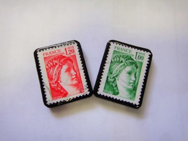 フランス  切手ピアス1098