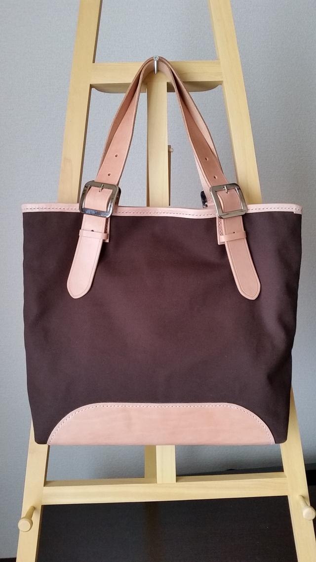 焦茶色帆布とサドルレザーのトートバッグ
