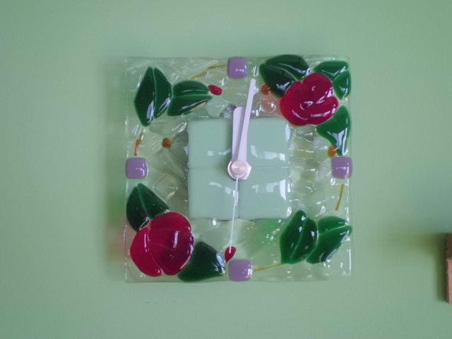 薔薇フュージング壁掛け時計