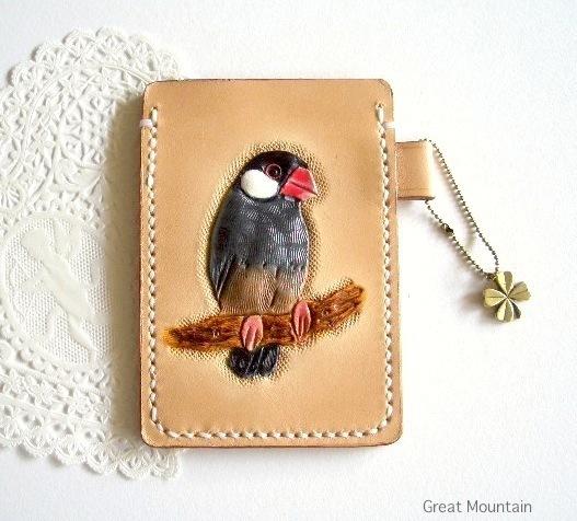 文鳥 桜文鳥 パスケース 鳥グッズ 革 レザー カードケース 文鳥グッズ