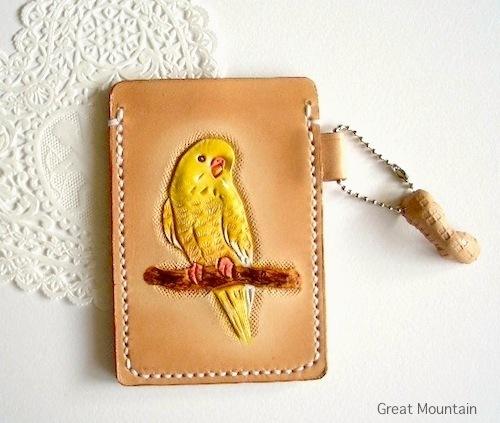 ルチノー セキセイインコ インコ インコグッズ カードケース 鳥 革 レザー 定期入れ 鳥グッズ