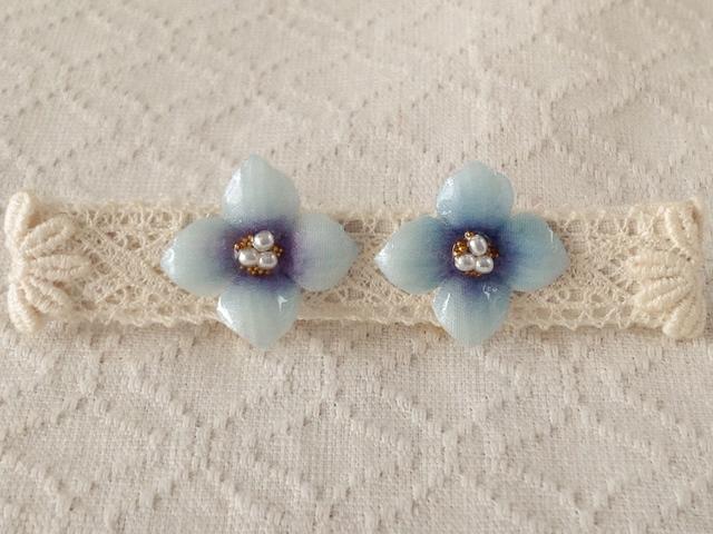 染め花を樹脂加工した紫陽花イヤリング( S・水色)