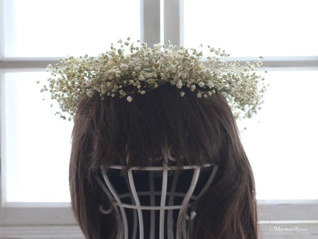ラスティック花冠&ブートニアかすみ草(ホワイト)*リボン