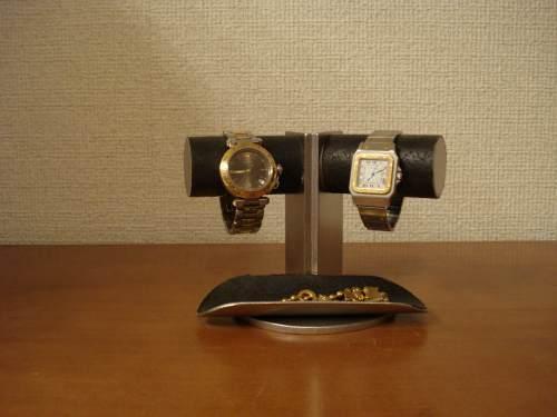 腕時計スタンド 支柱角度付き2本掛けトレイ付きディスプレイスタンド プレゼントに!