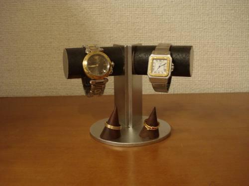 腕時計スタンド 支柱角度付き2本掛けトレイ付きディスプレイスタンド木製リングスタンド付き プレゼントに!