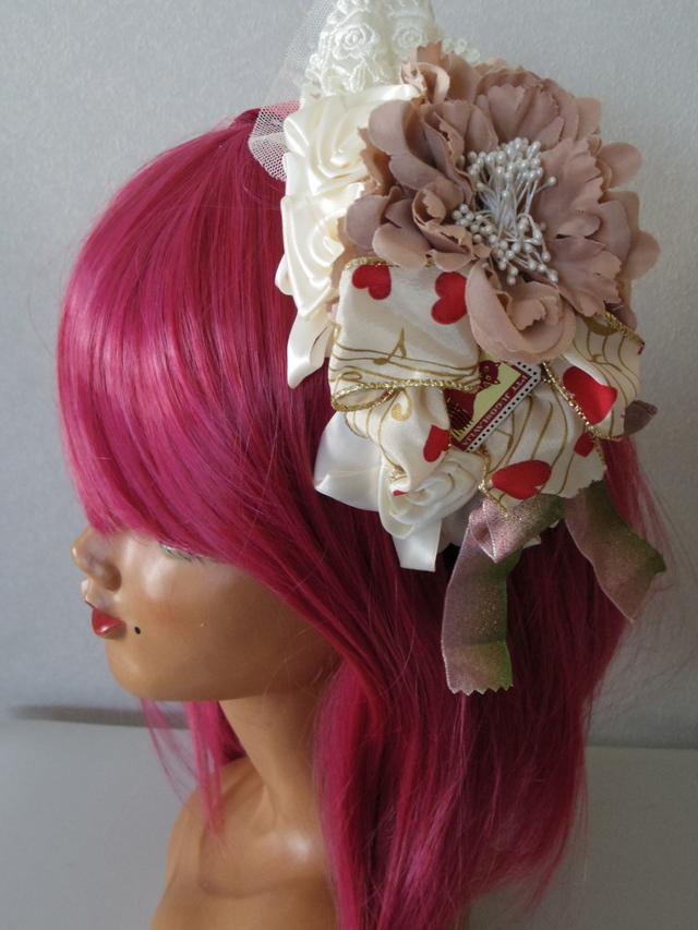 ベージュ系バラと 大きなくすんだピンクのお花のカチューシャ  オリジナル